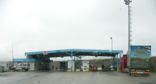 """Returning     through the border checkpoint from Bosnia to Croatia. (As I passed though, a guard said --when he saw my USA passport-- """"Clinton, very   good"""" and gave me the thumbs-up."""