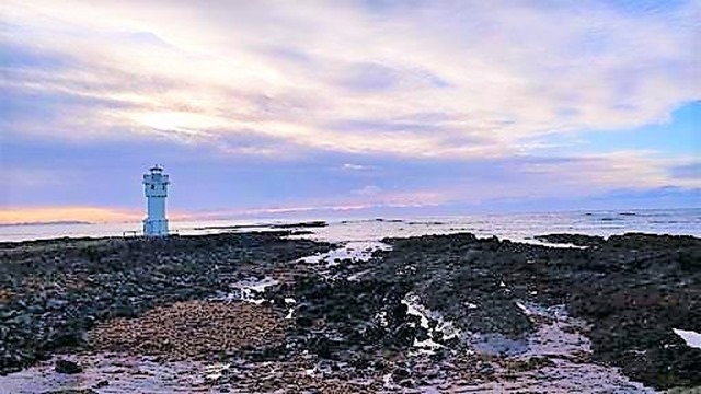 Akranes Iceland lighthouse on volcanic beach