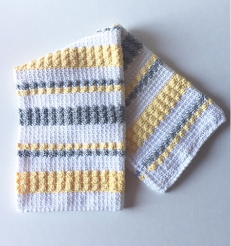 Crochet Gray and Yellow Bobble and Mesh Stitch Blanket