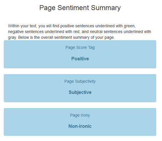 page sentiment summary