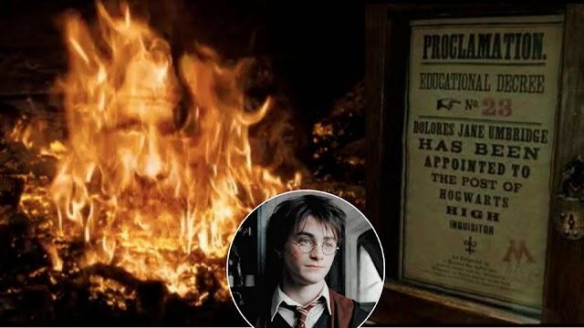 Há 26 anos Sirius Black aparece na lareira da Torre da Grifinória para falar com Harry | O Ministério da Magia aprova o Decreto Educacional nº 23