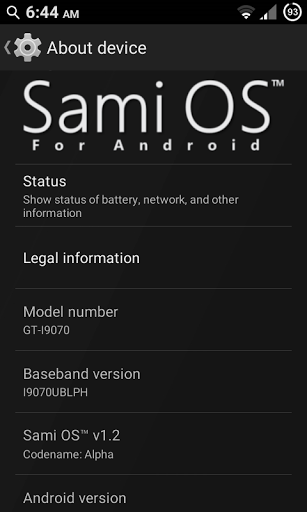 Sami OS 1.2 - About device