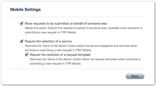 Mobile Settings section in Settings console