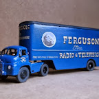 An early Bedford SA with a high-volume stepframe van trailer in the livery of Ferguson Radio and Television. Entirely built from RTI components with the exception of the wheels, which are ABS Streetscene Bristol K which have the characteristic six-webbed hub on the fronts, just like Bedfords had. I worked from a black and white photo, and relied on other people's memories and guesswork for the colour scheme - no doubt someone will now tell me it's wrong !