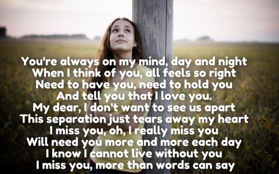 Her poems missing I Miss