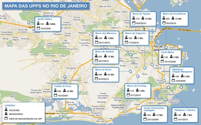 Mapa das UPPs na cidade do Rio