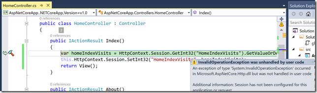 Excepción produciéndose al intentar acceder a una variable de sesión sin haber configurado el sistema