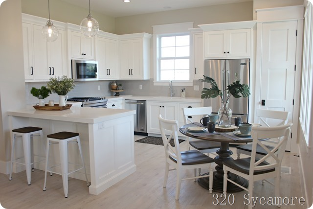 white kitchen light floors craftsman
