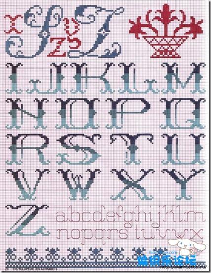 punto de cruz para iniciales. modelo 1