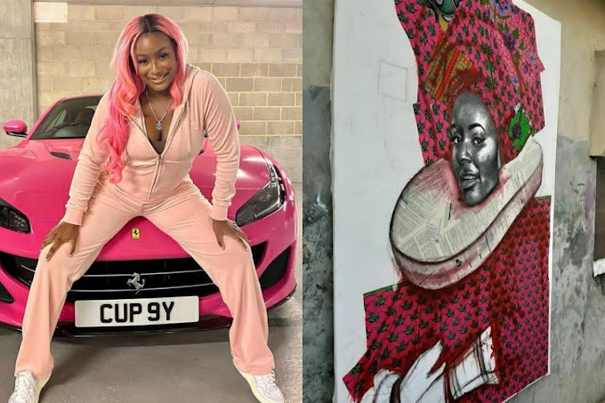 DJ Cuppy Screams After Being Told A Portrait Of Herself Is $3,636.36