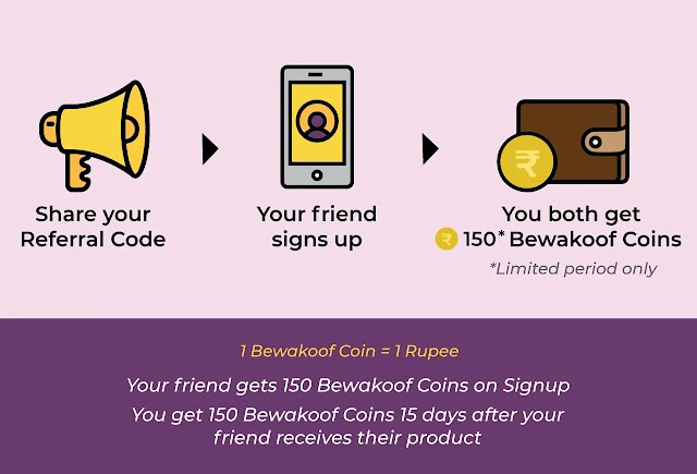 (Big Loot) Bewakoof Site - Get Rs. 150 On Signup + Rs. 150 Per Refer (Free Mobile Covers, T-Shirts & Other Products)