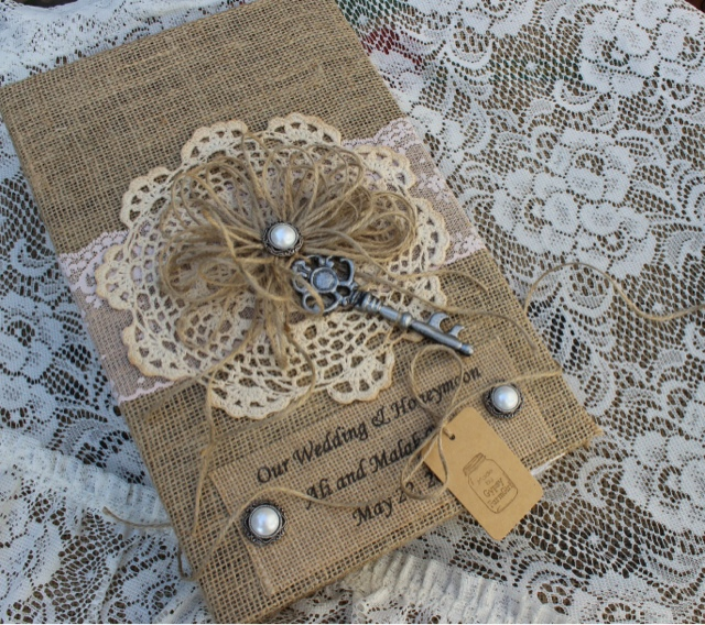 personalized burlap photo album