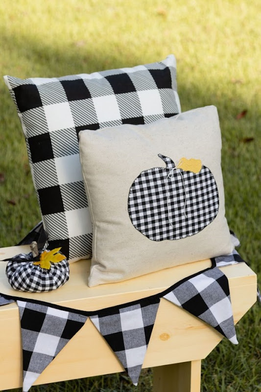 checkered pumpkin pillow