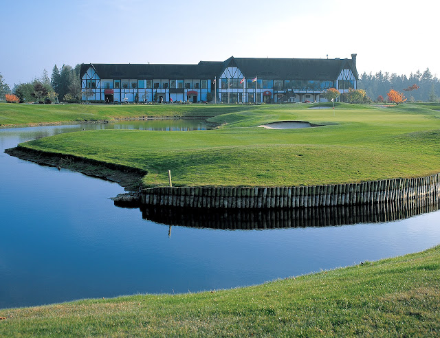 The spacious Tudor-style clubhouse overlooking the beautiful Loomis Trail Golf Course at Semiahmoo, offers a full range of services including a Pro Shop, full-service lounge, snack bar and banquet facilities. / Credit: Semiahmoo Resort Golf Spa