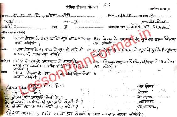 Math Lesson Plan in Hindi Class 8