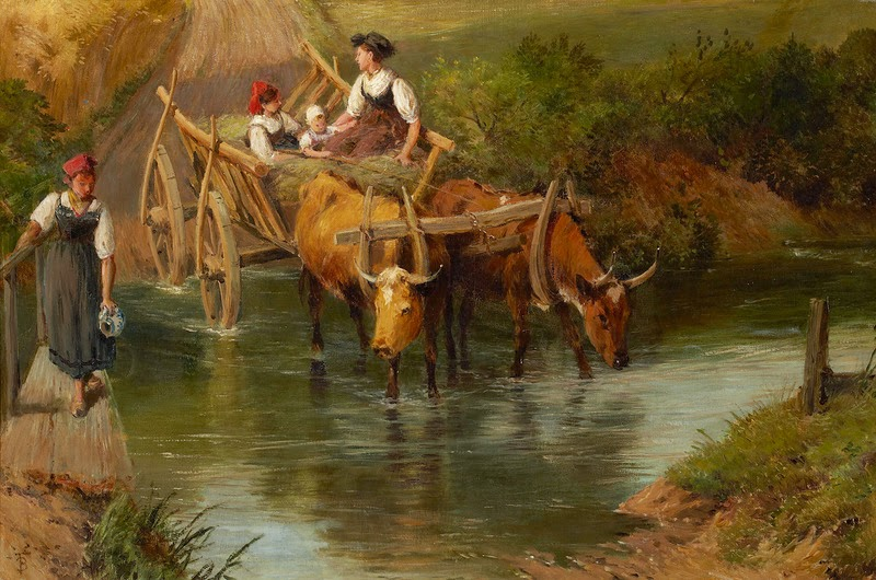 Myles Birket Foster - Crossing the Ford