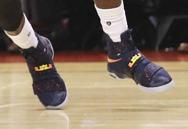 LBJ Rocks Speckled Cavs Alternate Nike Soldier 10 in Toronto