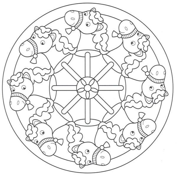 Mandalas infantiles para imprimir y colorear - Mandala cheval ...