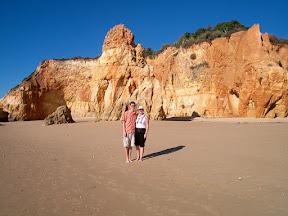 On Praia da Rocha with Aunt Nancy