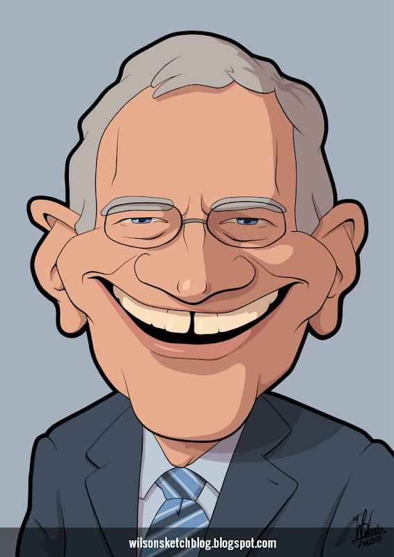 Cartoon caricature of David Letterman.