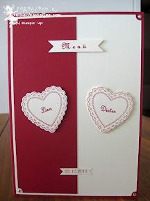 stampin up hearts a flutter bitty banners menu wedding hochzeit fähnchen