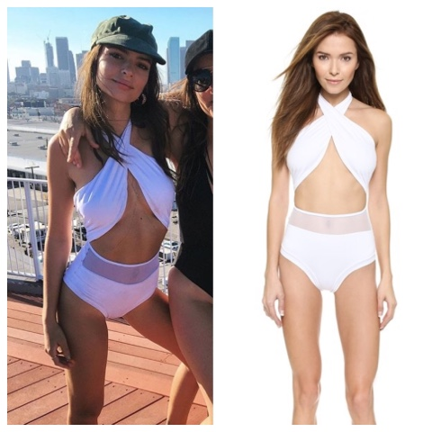 Emily Ratajkowski in Del Mar Alayna Maillot Swimsuit in White