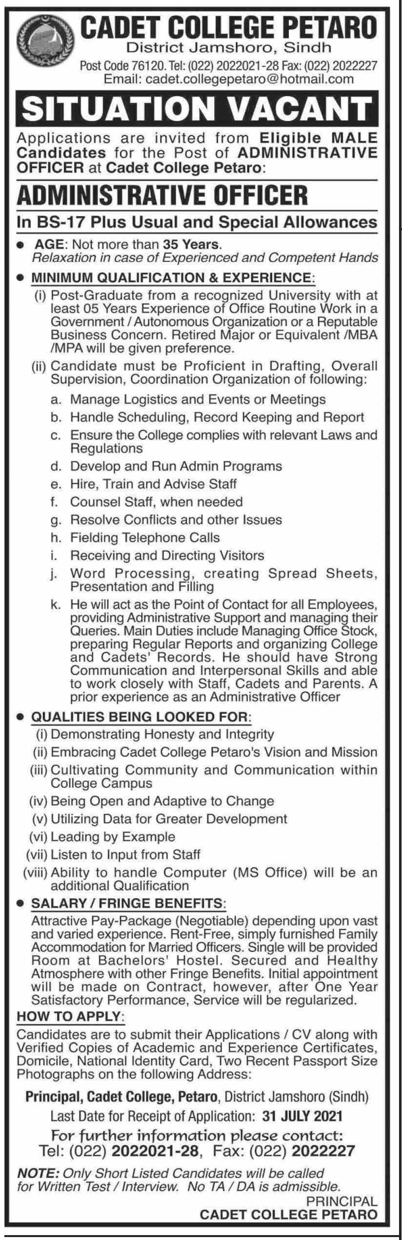 Cadet College Petaro Jobs 2021
