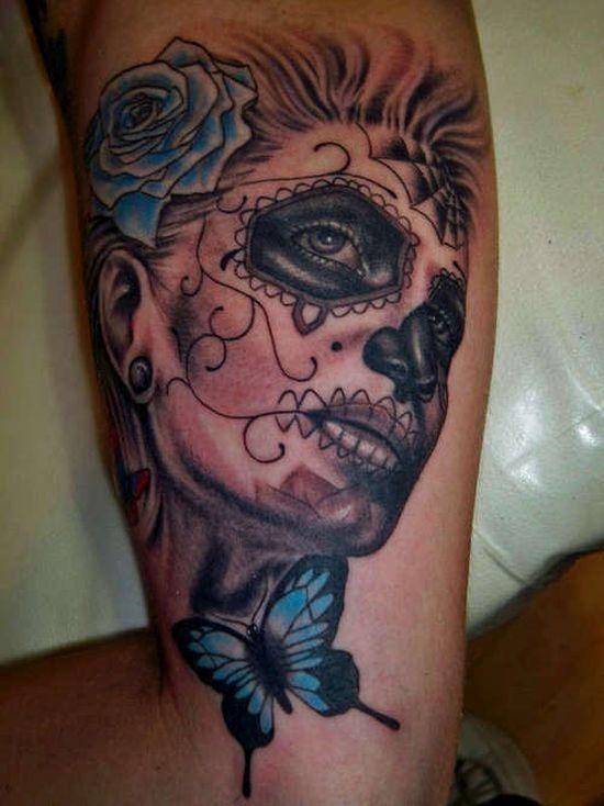 borboleta_de_açcar_desenho_de_tatuagem_de_caveira