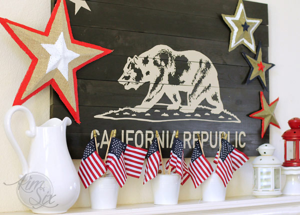 American Flags on Patriotic Mantel