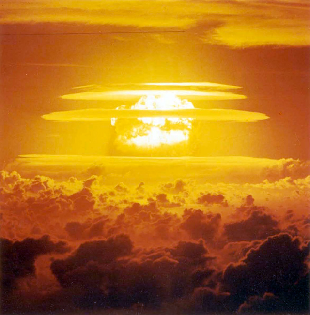 The Castle BRAVO nuclear test, 3.5 seconds after detonation, photo taken from a distance of 75 nautical miles from ground zero, from an altitude of 12,500 feet. Photo: DTRIAC SR-12-001 / The Nuclear Secrecy Blog