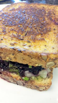 Blackberry Grilled Cheese with blackberries, basil, fontina, a touch of pesto