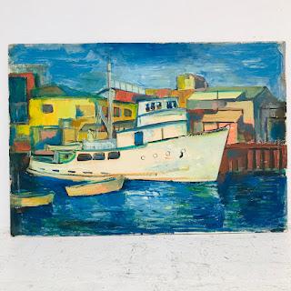 Martin Rosenthal Signed Modernist Harbor Scene Oil