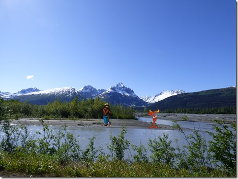 Mountains and waters of Valdez Alaska (with Smokey the Bear and Bullwinkle J. Moose