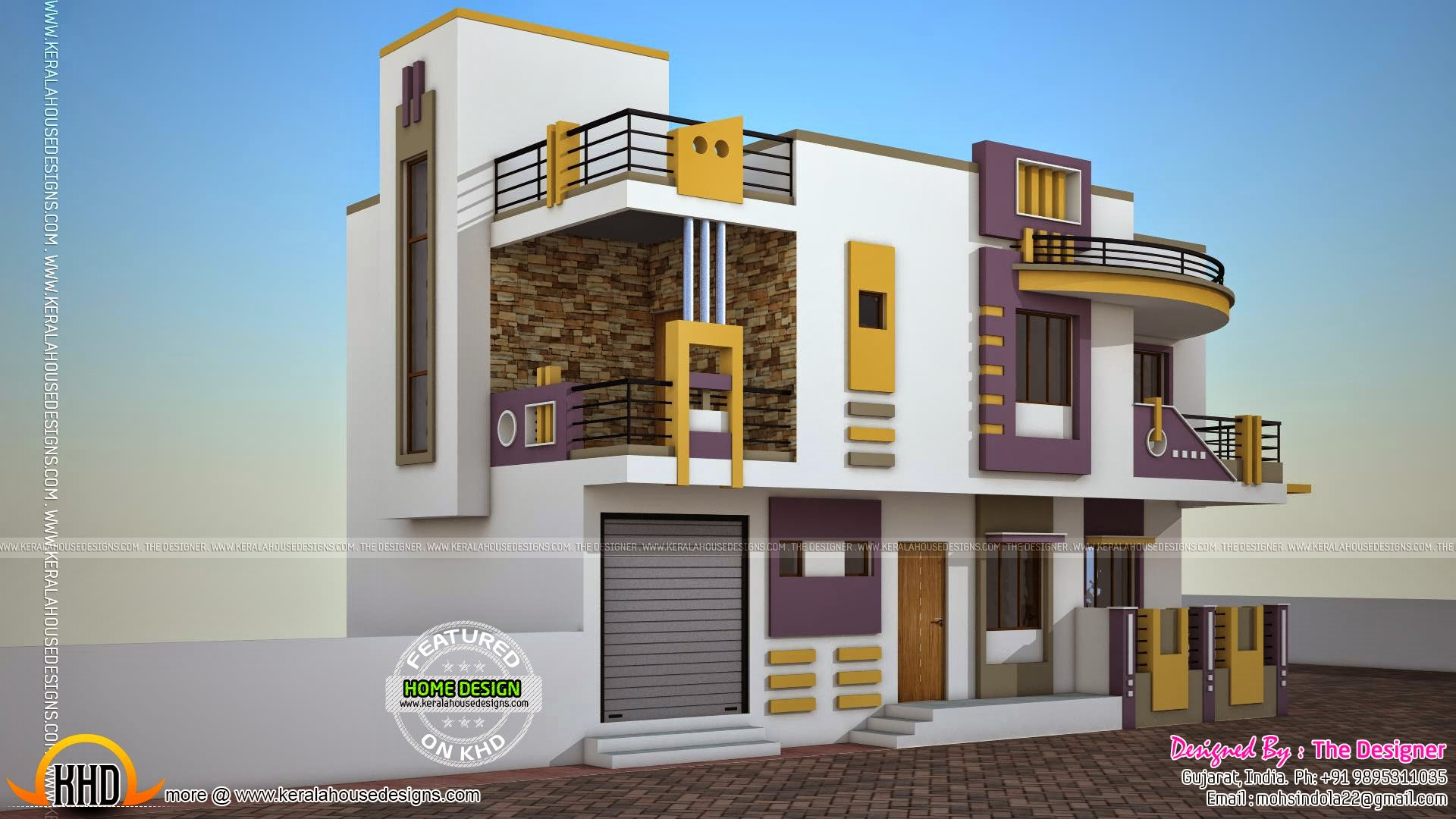 India contemporary house plan kerala home design and for Khd home elevation
