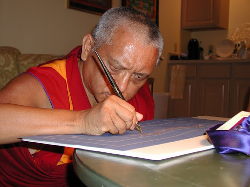 Lama Zopa Rinpoche writing the Sangatasutra in Deer Park, USA