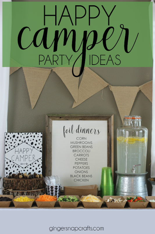Happy Camper Party Ideas at GingerSnapCrafts.com #party #ideas #camping