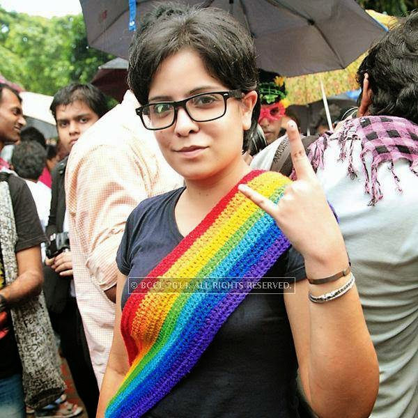 Indrani Kar during the 13th edition of Kolkata Rainbow Pride Walk 2014, held in Kolkata.