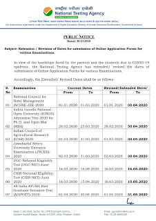 Extension of Application Form for UGC Net INGNO, JNU Entrance Test Submission Period, through nTA-National Testing Agency