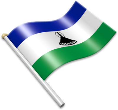 The Basotho flag on a flagpole clipart image