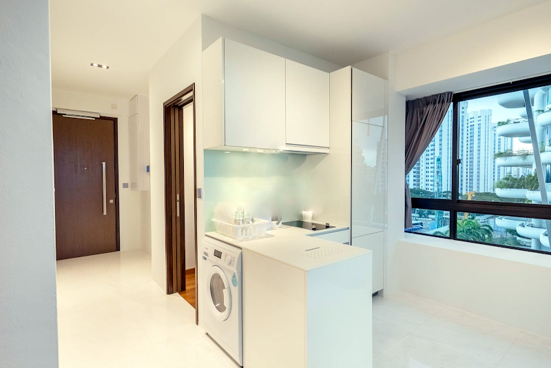 Fully equipped kitchen at Sky View Studio Apartments, East Coast