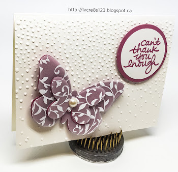 Linda Vich Creates: Catalog Party Prep Part 3. Ornately embossed vellum and card stock butterflies rest on the Softly Falling snow white background of these lovely In Color cards.