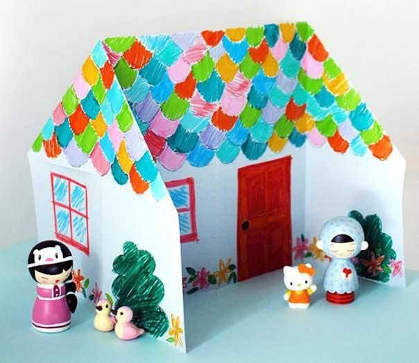 طريقة صنع بيت بالورق الملون اشغال يدوية للاطفال