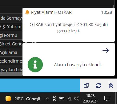 Matriks Web Trader Yayın Alarm Bildirimi