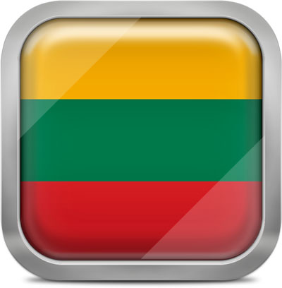 Lithuania square flag with metallic frame