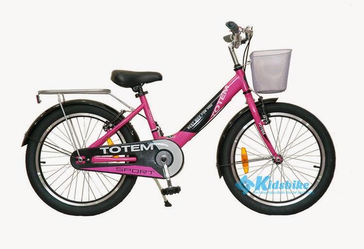 Xe đạp Totem TM1291 màu hồng tươi tắn thích hợp cho bé gái