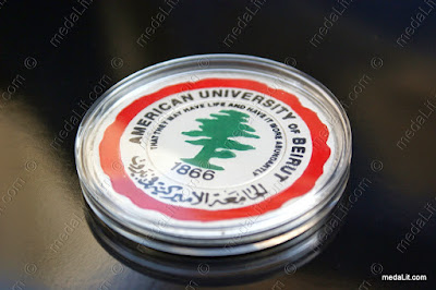 American University of Beirut ickel-plated medal made by Absi co