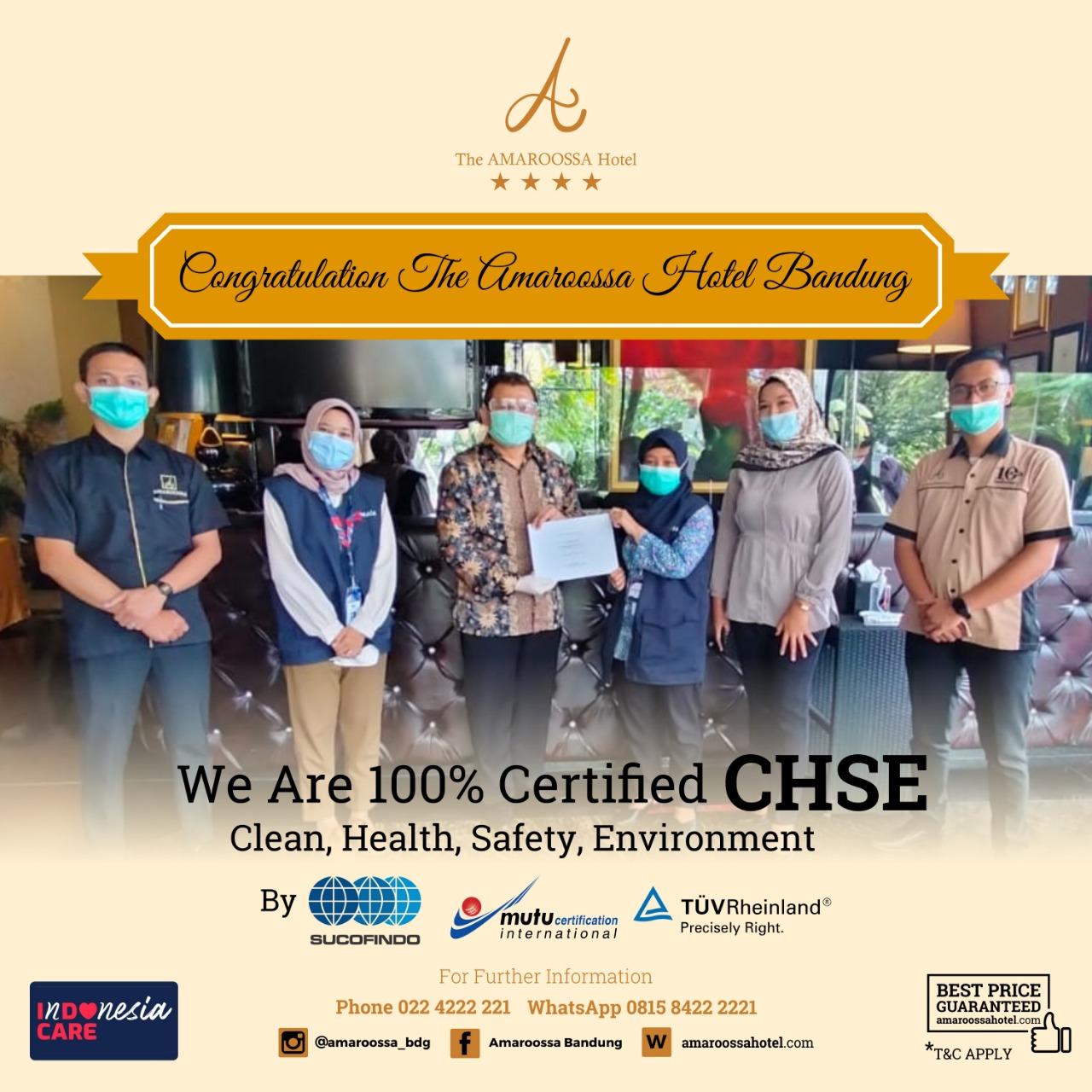 Dimasa Pandemi Covid 19, Hotel Amaroossa Bandung Lolos Uji Sertifikasi CHSE