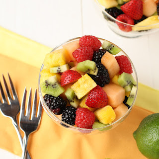 Fruit Salad with Lime Mint Dressing.