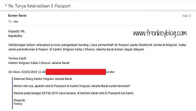 Jawaban via Email dari Kantor Imigrasi Jakarta Barat