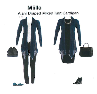 Stitch Fix styled fix of Miilla Alani Draped Mixed Knit Cardigan is perfect for layering all year long, and the cut of the cardigan is very feminine and flattering